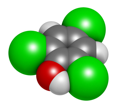 Trichlorophenol (TCP, 2,4,6-trichlorophenol) molecule. 3D rendering. Atoms are represented as spheres with conventional color coding: hydrogen (white), carbon (grey), oxygen (red), chlorine (green).