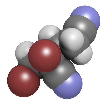 Methyldibromo glutaronitrile preservative molecule. Common allergen causing allergic contact dermatitis. 3D rendering. Atoms are represented as spheres with conventional color coding: hydrogen (white), carbon (grey), nitrogen (blue), bromine (brown).