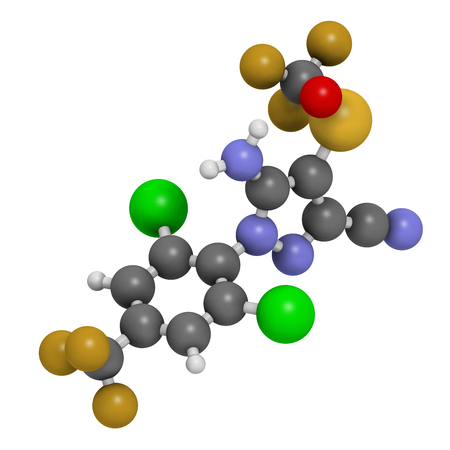 Fipronil insecticide molecule. 3D rendering. Atoms are represented as spheres with conventional color coding: hydrogen (white), carbon (grey), oxygen (red), nitrogen (blue), chlorine (green), fluorine (gold), sulfur (yellow).