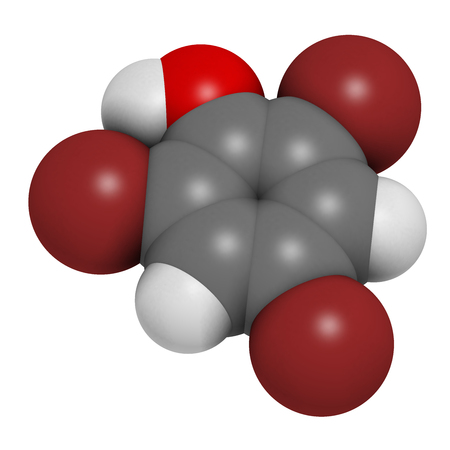 Tribromophenol (TBP, 2,4,6-Tribromophenol) molecule. Used as fungicide and wood preservative; 3D rendering. Atoms are represented as spheres with conventional color coding: hydrogen (white), carbon (grey), oxygen (red), bromine (brown). Stock Photo