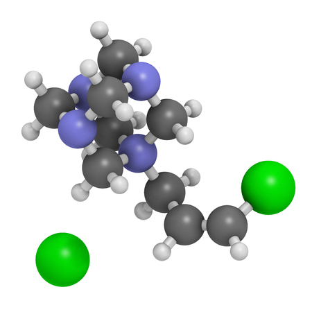 Quaternium-15 surfactant and preservative molecule (formaldehyde releaser). 3D rendering. Atoms are represented as spheres with conventional color coding: hydrogen (white), carbon (grey), nitrogen (blue), chlorine (green). Stock Photo