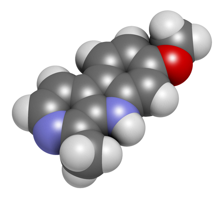 3d nitrogen: Harmine alkaloid molecule. Herbal inhibitor of monoamine oxidase A. (MAO-A). 3D rendering. Atoms are represented as spheres with conventional color coding: hydrogen (white), carbon (grey), oxygen (red), nitrogen (blue). Stock Photo