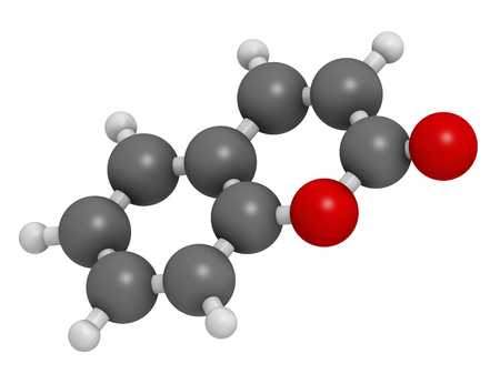 anticoagulant: Coumarin herbal fragrant molecule. Responsible for the scent new-mown hay. 3D rendering. Atoms are represented as spheres with conventional color coding: hydrogen (white), carbon (grey), oxygen (red). Stock Photo