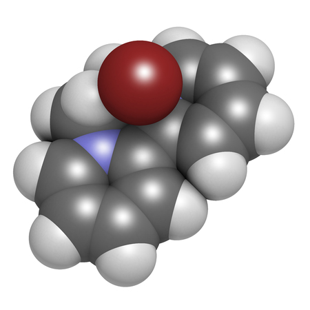 Diquat dibromide contact herbicide molecule 3D rendering. Atoms are represented as spheres with conventional color coding: hydrogen (white), carbon (grey), nitrogen (blue), bromine (brown).