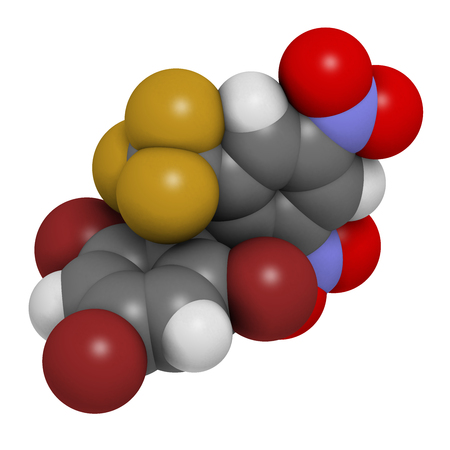 Bromethalin rodenticide molecule (rat poison). 3D rendering. Atoms are represented as spheres with conventional color coding: hydrogen (white), carbon (grey), nitrogen (blue), oxygen (red), bromine (brown), fluorine (gold).