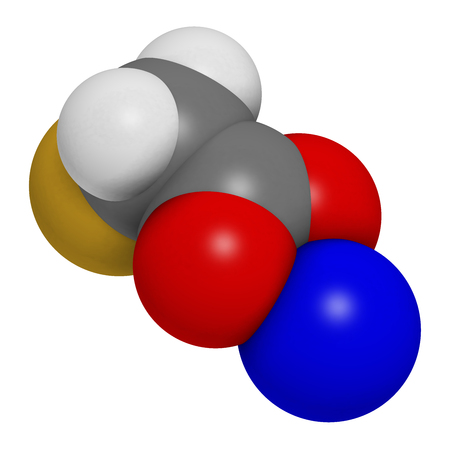 Sodium fluoroacetate pesticide (1080), chemical structure. 3D rendering. Atoms are represented as spheres with conventional color coding: hydrogen (white), carbon (grey), oxygen (red), fluorine (gold), sodium (blue).