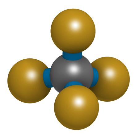 Tetrafluoromethane (carbon tetrafluoride, CF4) greenhouse gas molecule. 3D rendering. Atoms are represented as spheres with conventional color coding: carbon (grey), fluorine (gold). Stock Photo