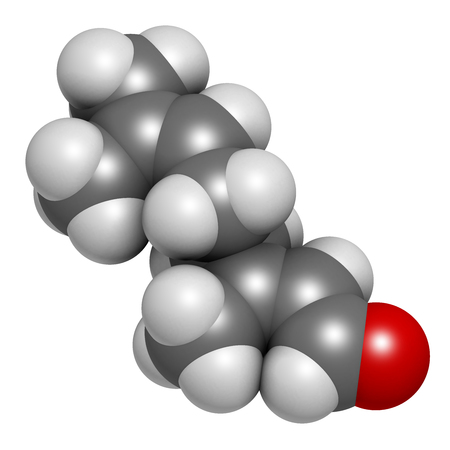 Geranial lemon fragrance molecule. 3D rendering. Atoms are represented as spheres with conventional color coding: hydrogen (white), carbon (grey), oxygen (red). Stock Photo
