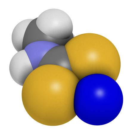 fungicide: Metam sodium pesticide molecule. 3D rendering. Atoms are represented as spheres with conventional color coding: hydrogen (white), carbon (grey), nitrogen (blue), sulfur (yellow), sodium (blue).