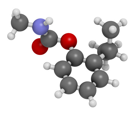 3d nitrogen: Isoprocarb insecticide molecule. 3D rendering. Atoms are represented as spheres with conventional color coding: hydrogen (white), carbon (grey), oxygen (red), nitrogen (blue).