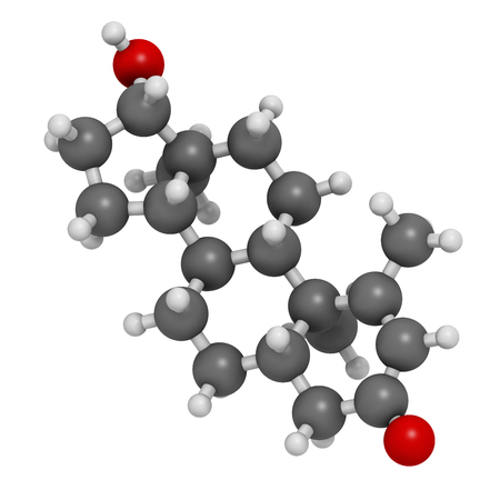 Metenolone anabolic steroid molecule. Used (banned) in sports doping. 3D rendering. Atoms are represented as spheres with conventional color coding: hydrogen (white), carbon (grey), oxygen (red).
