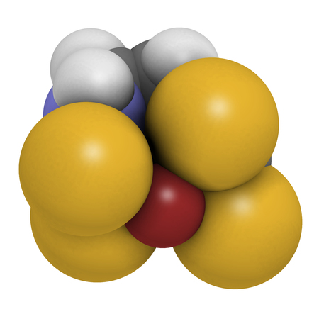 Zineb zinc organosulfur fungicide molecule. 3D rendering. Atoms are represented as spheres with conventional color coding: hydrogen (white), carbon (grey), nitrogen (blue), sulfur (yellow), zinc (brown).