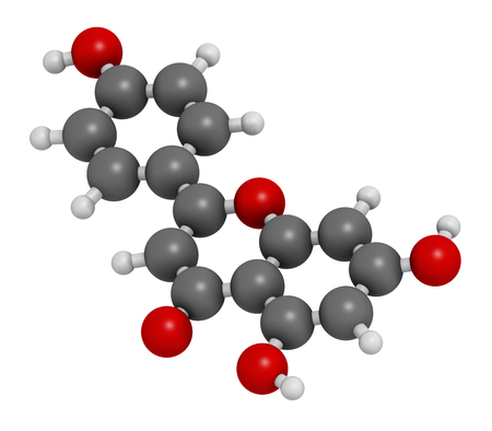 Apigenin yellow herbal dye molecule. 3D rendering. Atoms are represented as spheres with conventional color coding: hydrogen (white), carbon (grey), oxygen (red). Stock Photo