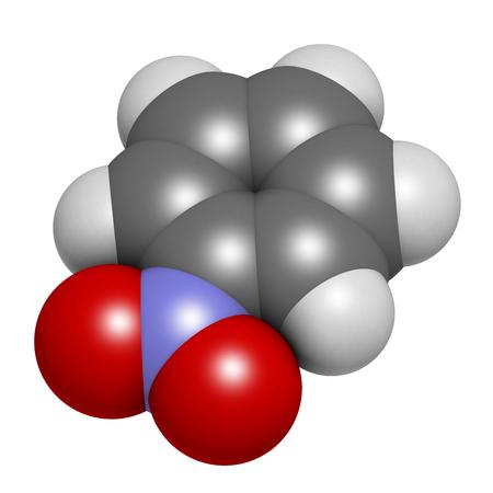 ニトロ ベンゼン溶媒分子。3 D レンダリング。原子は従来色の球体として表されます: 水素 (白)、炭素 (灰色)、酸素 (赤)、窒素 (青)。
