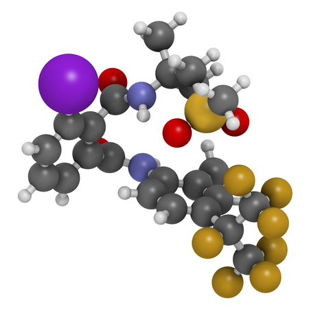 flubendiamide insecticide molecule (ryanoid class). 3D rendering. Atoms are represented as spheres with conventional color coding: hydrogen (white), carbon (grey), oxygen (red), nitrogen (blue), iodine (purple), sulfur (yellow), oxygen (red), fluorine (go