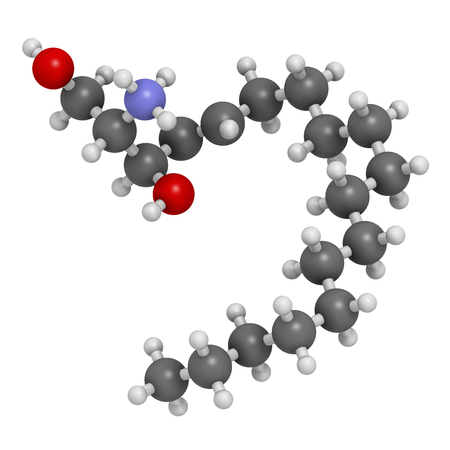 3d nitrogen: Sphingosine lipid molecule. 3D rendering. Atoms are represented as spheres with conventional color coding: hydrogen (white), carbon (grey), oxygen (red), nitrogen (blue).