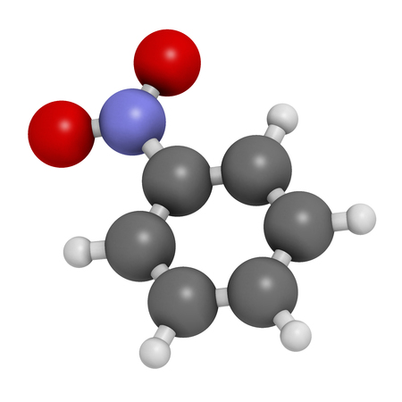 Nitrobenzene solvent molecule. 3D rendering. Atoms are represented as spheres with conventional color coding: hydrogen (white), carbon (grey), oxygen (red), nitrogen (blue).