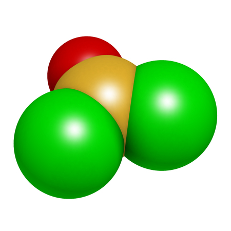 Thionyl chloride (SOCl2) chemical reagent molecule. 3D rendering. Atoms are represented as spheres with conventional color coding: sulfur (yellow), oxygen (red), chlorine (green). Standard-Bild