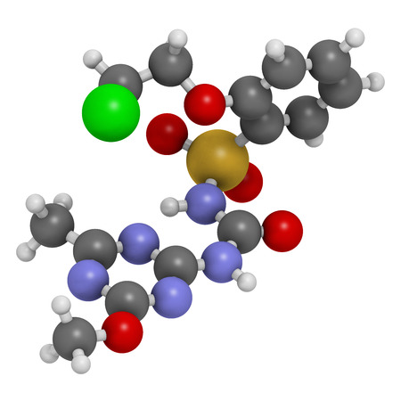 nitrogen: Triasulfuron herbicide molecule. 3D rendering. Atoms are represented as spheres with conventional color coding: hydrogen (white), carbon (grey), oxygen (red), nitrogen (blue), sulfur (yellow), chlorine (green).