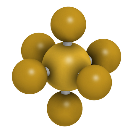 sulfur hexafluoride gas insulator molecule. Microbubbles are used as contrast agent for ultrasound imaging. Potent greenhouse gas. 3D rendering. Atoms are represented as spheres with conventional color coding: sulfur (yellow), fluorine (gold).