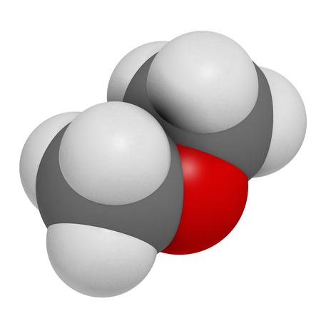 Dimethylether (Methoxymethan, DME) -Molekül. 3D-Rendering. Atome werden als Kugeln mit konventioneller Farbkodierung dargestellt: Wasserstoff (weiß), Kohlenstoff (grau), Sauerstoff (rot). Standard-Bild