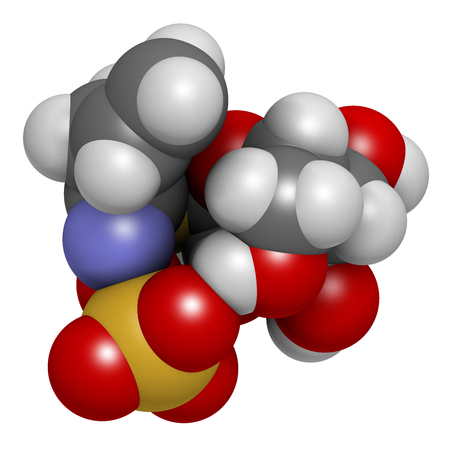 Sinigrin glucosinolate molecule. Present in some cruciferous vegetables (Brussels sprouts, broccoli, black mustard, etc). 3D rendering. Atoms are represented as spheres with conventional color coding: hydrogen (white), carbon (grey), oxygen (red), nitroge
