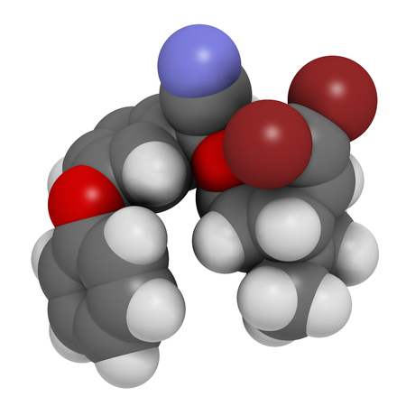 3d nitrogen: Deltamethrin insecticide molecule (synthetic pyrethroid). 3D rendering. Atoms are represented as spheres with conventional color coding: hydrogen (white), carbon (grey), oxygen (red), nitrogen (blue), bromine (brown). Stock Photo