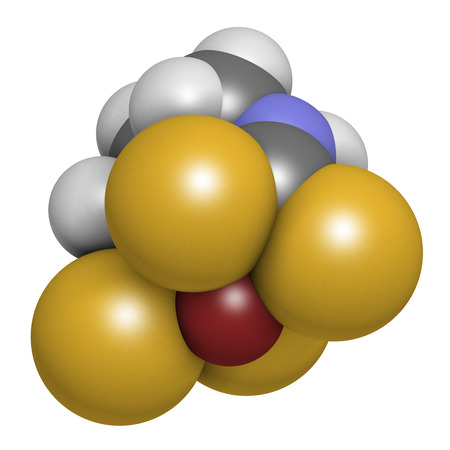 fungicide: Zineb zinc organosulfur fungicide molecule. 3D rendering. Atoms are represented as spheres with conventional color coding: hydrogen (white), carbon (grey), nitrogen (blue), sulfur (yellow), zinc (brown).
