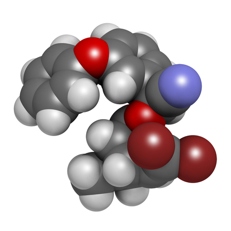 Deltamethrin insecticide molecule (synthetic pyrethroid). 3D rendering. Atoms are represented as spheres with conventional color coding: hydrogen (white), carbon (grey), oxygen (red), nitrogen (blue), bromine (brown). Stock Photo