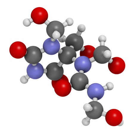 Diazolidinyl urea antimicrobial preservative molecule (formaldehyde releaser). 3D rendering. Atoms are represented as spheres with conventional color coding: hydrogen (white), carbon (grey), oxygen (red), nitrogen (blue). Stock Photo