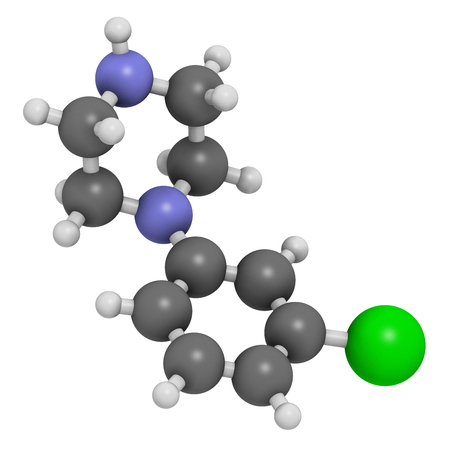 Meta-chlorophenylpiperazine (mCPP) psychoactive drug molecule. 3D rendering. Atoms are represented as spheres with conventional color coding: hydrogen (white), carbon (grey), nitrogen (blue), nitrogen (blue), chlorine (green).