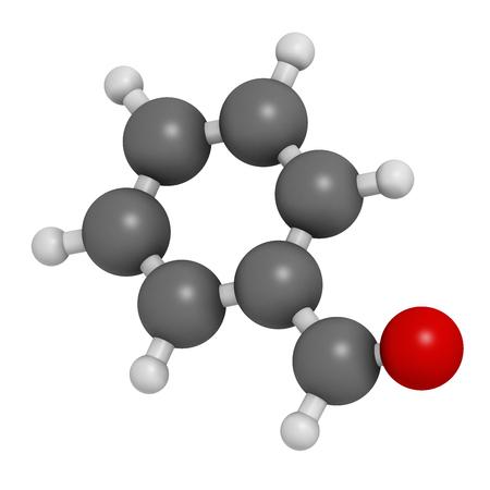 ベンズアルデヒド ビター アーモンド臭分子。3 D レンダリング。原子は従来色の球体として表されます: 水素 (白)、炭素 (灰色)、酸素 (赤)。 写真素材 - 76832010