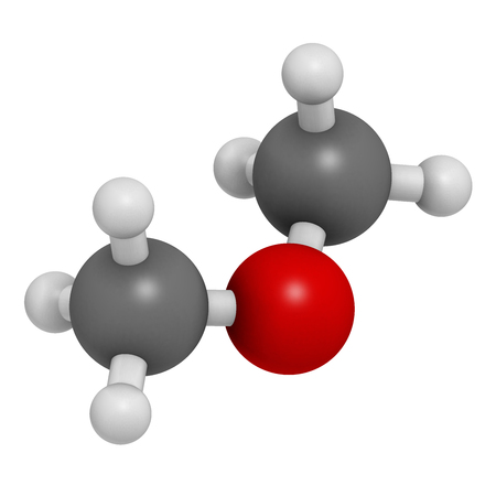 Dimethyl ether (methoxymethane, DME) molecule. 3D rendering. Atoms are represented as spheres with conventional color coding: hydrogen (white), carbon (grey), oxygen (red). Stock Photo