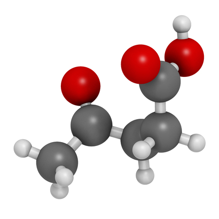 Levulinic acid molecule. Made by degradation of cellulose, potential precursor to biofuels. 3D rendering. Atoms are represented as spheres with conventional color coding: hydrogen (white), carbon (grey), oxygen (red).