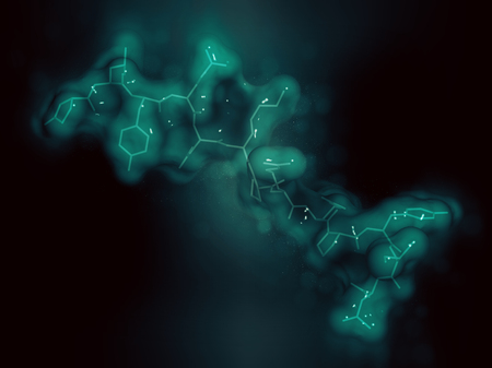 Neurotensin neurotransmitter peptide (Q1E mutated). 3D rendering based on protein data bank entry 2lne. Stick representation combined with semi-transparent surfaces. Dark background.