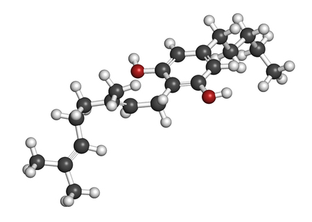 cannabinoid: Cannabigerol cannabinoid molecule. 3D rendering. Atoms are represented as spheres with conventional color coding: hydrogen (white), carbon (grey), oxygen (red). Stock Photo