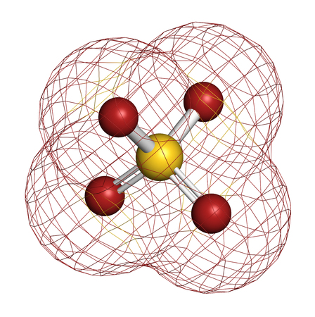 Sulfate anion, chemical structure. 3D rendering. Atoms are represented as spheres with conventional color coding: sulfur (yellow), oxygen (red).