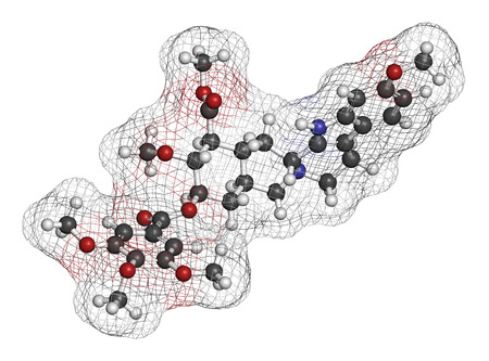Reserpine alkaloid molecule. Isolated from Rauwolfia serpentina (Indian snakeroot). 3D rendering. Atoms are represented as spheres with conventional color coding: hydrogen (white), carbon (grey), oxygen (red), nitrogen (blue).