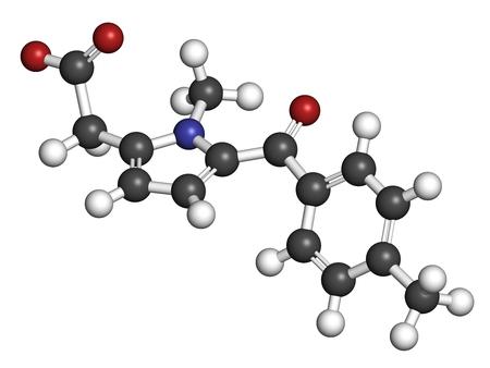 hidrógeno: Tolmetin NSAID droga molécula. Representación 3D. Los átomos se representan como esferas con la codificación de color convencional: hidrógeno (blanco), carbono (gris), nitrógeno (azul), oxígeno (rojo).