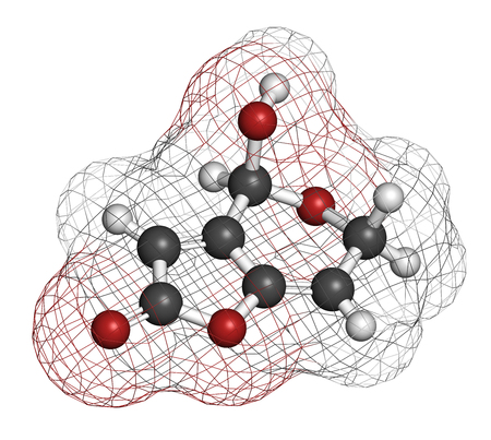 penicillium: Patulin mycotoxin molecule. 3D rendering. Atoms are represented as spheres with conventional color coding: hydrogen (white), carbon (grey), oxygen (red).