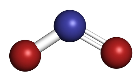 Nitrite anion, chemical structure. Nitrite salts are used in the curing of meat. 3D rendering. Atoms are represented as spheres with conventional color coding: nitrogen (blue), oxygen (red).