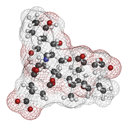Fumonisin B1 mycotoxin molecule. Fungal toxin produced by some Fusarium molds, often present in corn and other cereals. 3D rendering. Atoms are represented as spheres with conventional color coding: hydrogen (white), carbon (grey), oxygen (red), nitrogen  Stock Photo