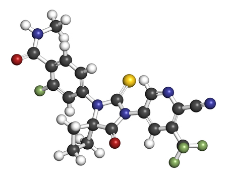 Apalutamide prostate cancer drug molecule. 3D rendering. Atoms are represented as spheres with conventional color coding: hydrogen (white), carbon (grey), nitrogen (blue), oxygen (red), sulfur (yellow), fluorine (light green). Imagens - 79389935