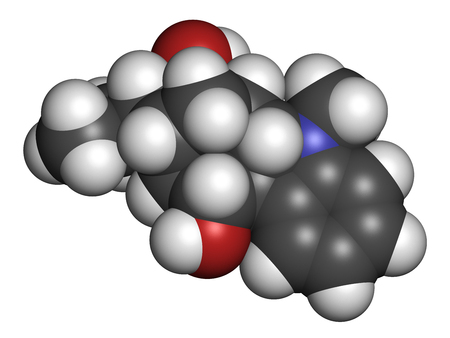 Ajmaline antiarrhytmic agent molecule.  3D rendering. Atoms are represented as spheres with conventional color coding: hydrogen (white), carbon (grey), oxygen (red), nitrogen (blue).