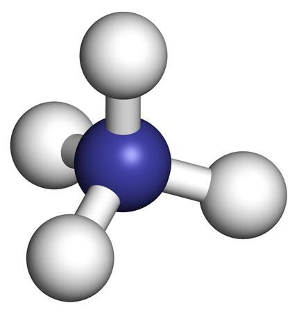Cation ammonique. Forme protonée d'ammoniaque. Rendu 3D. Les atomes sont représentés comme des sphères avec un codage de couleur conventionnel: hydrogène (blanc), azote (bleu). Banque d'images - 79389945