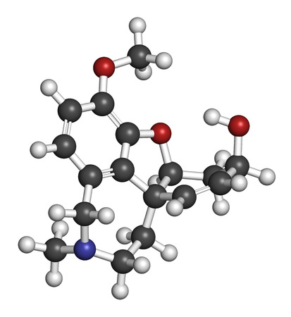 nicotinic: Galantamine alkaloid molecule. Found in Caucasian snowdrop, used in treatment of Alzheimers disease. 3D rendering. Atoms are represented as spheres with conventional color coding: hydrogen (white), carbon (grey), oxygen (red), nitrogen (blue). Stock Photo