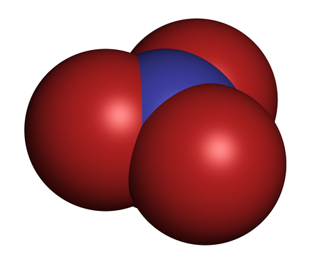 nitrogen: Nitrate anion, chemical structure. 3D rendering. Atoms are represented as spheres with conventional color coding: nitrogen (blue), oxygen (red). Stock Photo