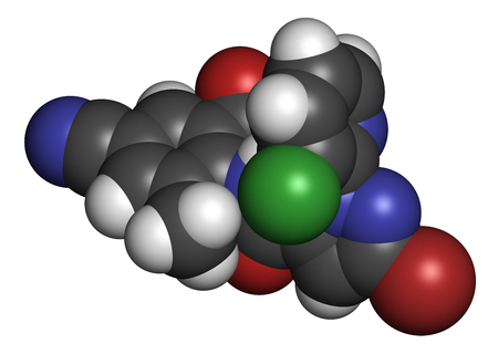 Cyantraniliprole insecticide molecule (ryanoid class). 3D rendering. Atoms are represented as spheres with conventional color coding: hydrogen (white), carbon (grey), oxygen (red), nitrogen (blue), chlorine (green), bromine (brown).