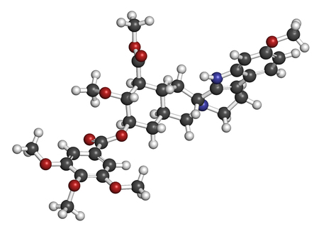 Reserpine alkaloid molecule. Isolated from Rauwolfia serpentina (Indian snakeroot). 3D rendering. Atoms are represented as spheres with conventional color coding: hydrogen (white), carbon (grey), oxygen (red), nitrogen (blue). Imagens - 79389976