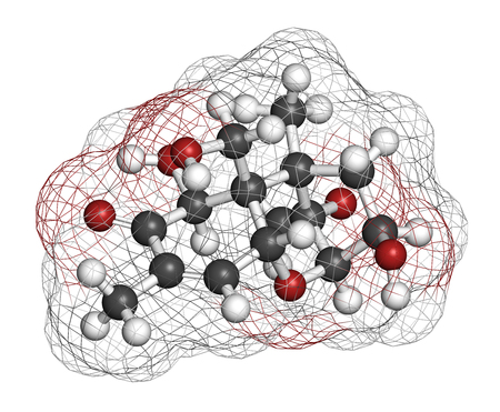 Vomitoxin (deoxynivalenol, DON) mycotoxin molecule. 3D rendering. Atoms are represented as spheres with conventional color coding: hydrogen (white), carbon (grey), oxygen (red).